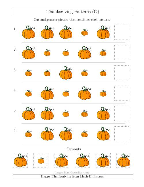 The Thanksgiving Picture Patterns with Size Attribute Only (G) Math Worksheet