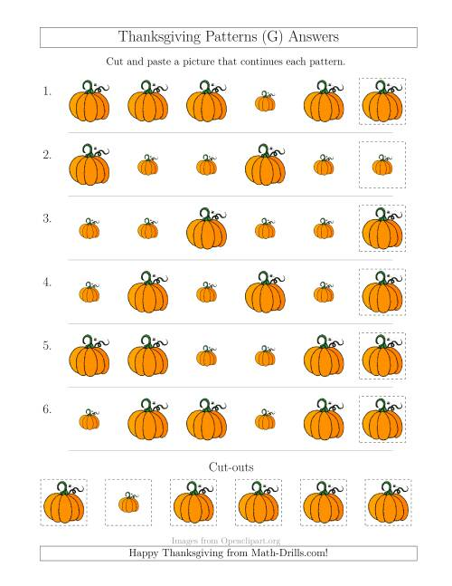The Thanksgiving Picture Patterns with Size Attribute Only (G) Math Worksheet Page 2
