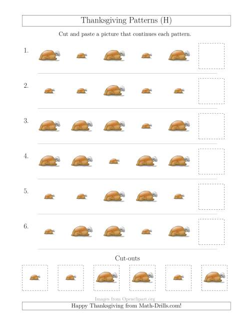 The Thanksgiving Picture Patterns with Size Attribute Only (H) Math Worksheet