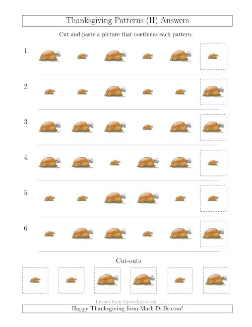 The Thanksgiving Picture Patterns with Size Attribute Only (H) Math Worksheet Page 2