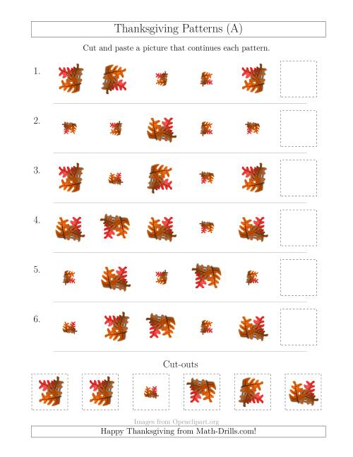 The Thanksgiving Picture Patterns with Size and Rotation Attributes (A) Math Worksheet