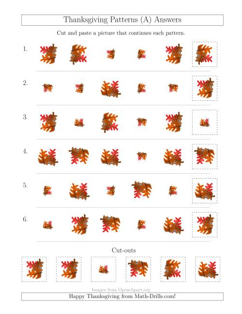 The Thanksgiving Picture Patterns with Size and Rotation Attributes (A) Math Worksheet Page 2