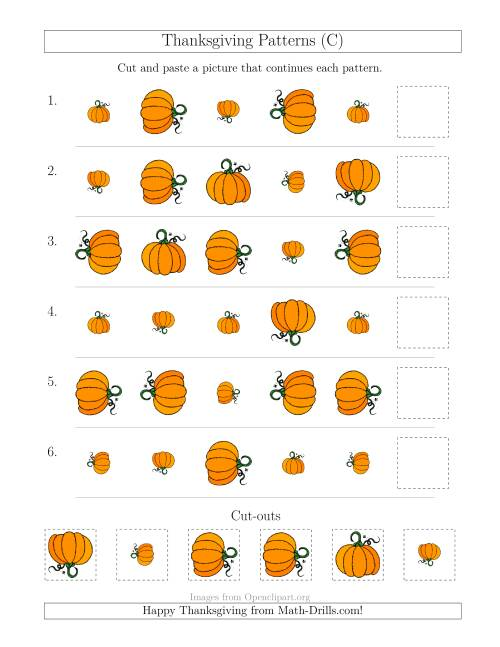 The Thanksgiving Picture Patterns with Size and Rotation Attributes (C) Math Worksheet