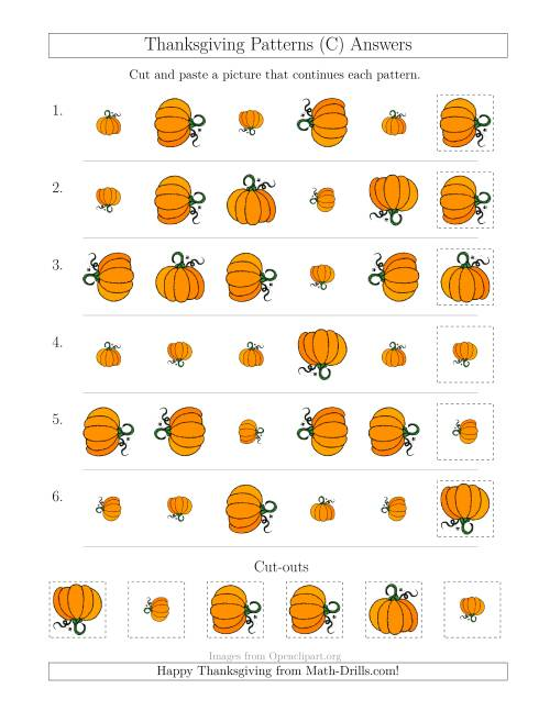 The Thanksgiving Picture Patterns with Size and Rotation Attributes (C) Math Worksheet Page 2