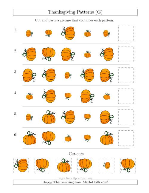 The Thanksgiving Picture Patterns with Size and Rotation Attributes (G) Math Worksheet