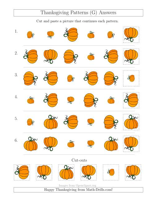 The Thanksgiving Picture Patterns with Size and Rotation Attributes (G) Math Worksheet Page 2
