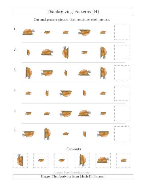 The Thanksgiving Picture Patterns with Size and Rotation Attributes (H) Math Worksheet
