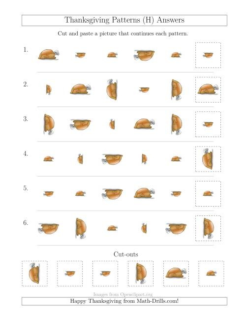 The Thanksgiving Picture Patterns with Size and Rotation Attributes (H) Math Worksheet Page 2