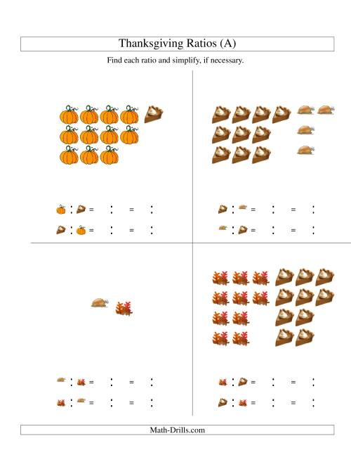 Thanksgiving Picture Ratios with only Part to Part Ratios A – Maths Ratios Worksheets