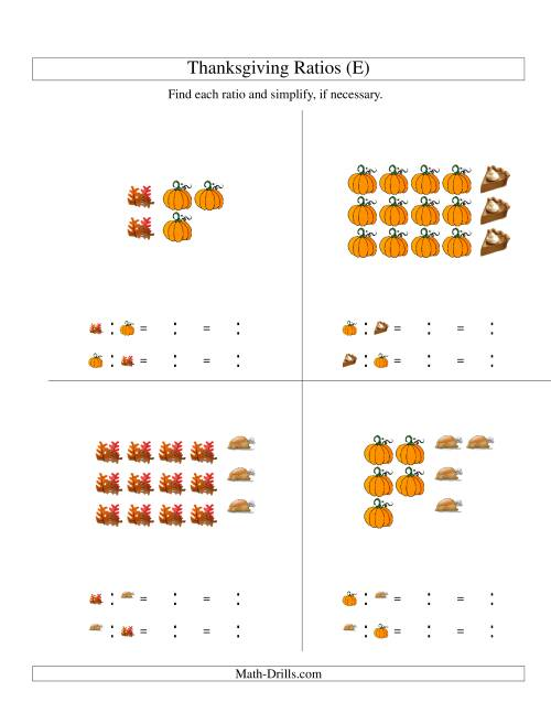 The Thanksgiving Picture Ratios with only Part to Part Ratios (E) Math Worksheet