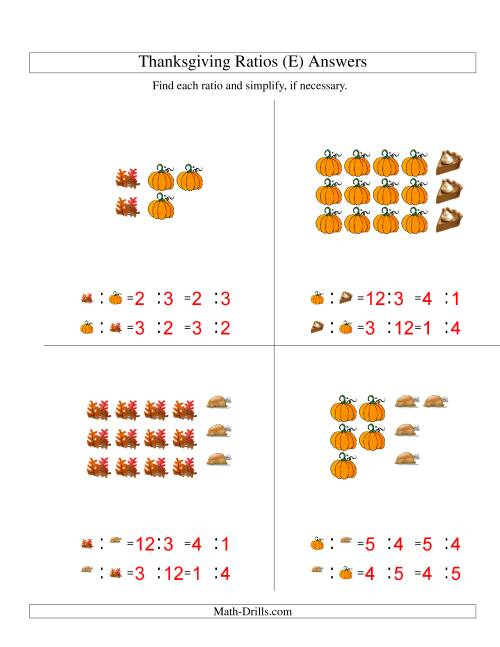 The Thanksgiving Picture Ratios with only Part to Part Ratios (E) Math Worksheet Page 2