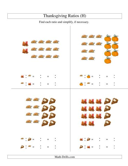 The Thanksgiving Picture Ratios with only Part to Part Ratios (H) Math Worksheet