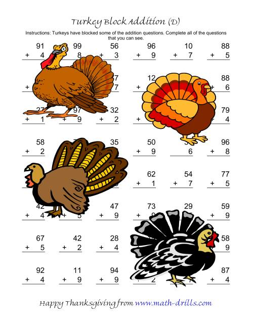 The Turkey Block Addition (Two-Digit Plus One-Digit) (D) Math Worksheet