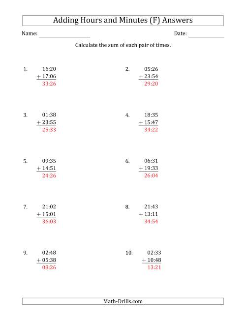 The Adding Hours and Minutes (Compact Format) (F) Math Worksheet Page 2