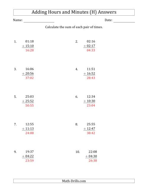 The Adding Hours and Minutes (Compact Format) (H) Math Worksheet Page 2