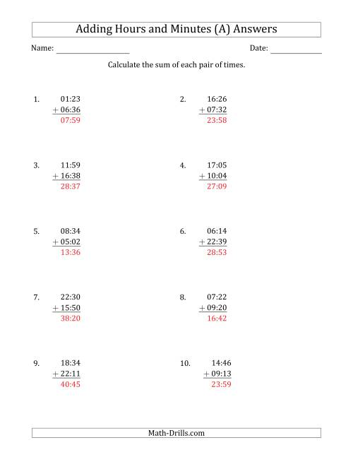 The Adding Hours and Minutes (Compact Format) (All) Math Worksheet Page 2