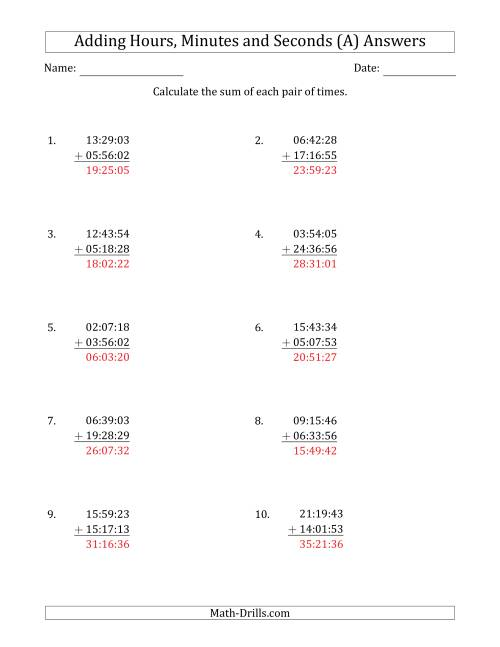 The Adding Hours, Minutes and Seconds (Compact Format) (A) Math Worksheet Page 2