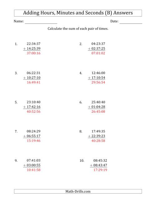 The Adding Hours, Minutes and Seconds (Compact Format) (B) Math Worksheet Page 2