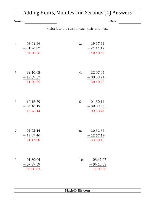 The Adding Hours, Minutes and Seconds (Compact Format) (C) Math Worksheet Page 2
