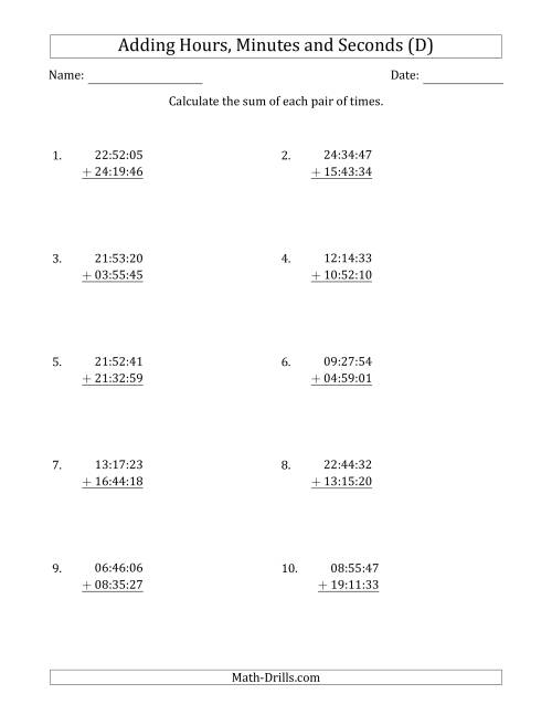 The Adding Hours, Minutes and Seconds (Compact Format) (D) Math Worksheet