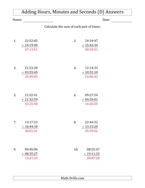The Adding Hours, Minutes and Seconds (Compact Format) (D) Math Worksheet Page 2