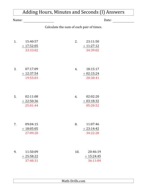 The Adding Hours, Minutes and Seconds (Compact Format) (I) Math Worksheet Page 2