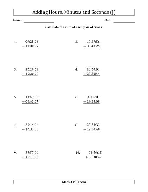 The Adding Hours, Minutes and Seconds (Compact Format) (J) Math Worksheet