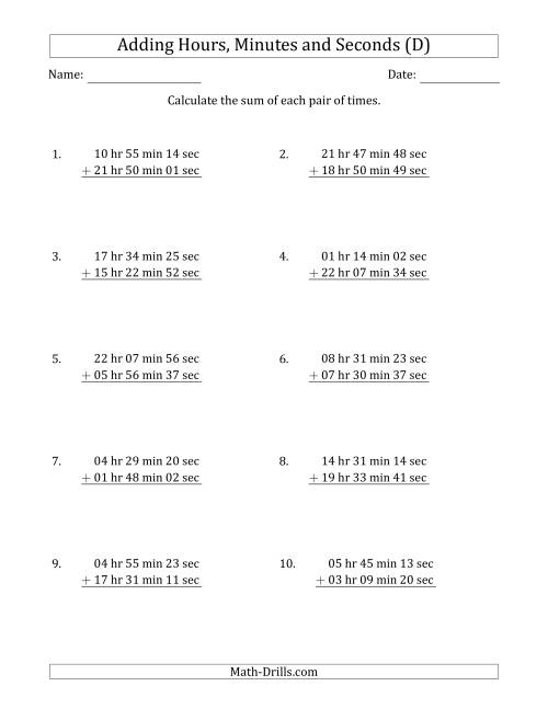 The Adding Hours, Minutes and Seconds (Long Format) (D) Math Worksheet