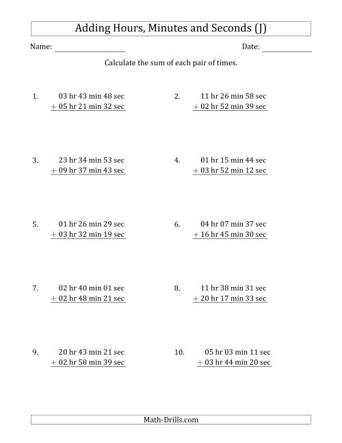 The Adding Hours, Minutes and Seconds (Long Format) (J) Math Worksheet
