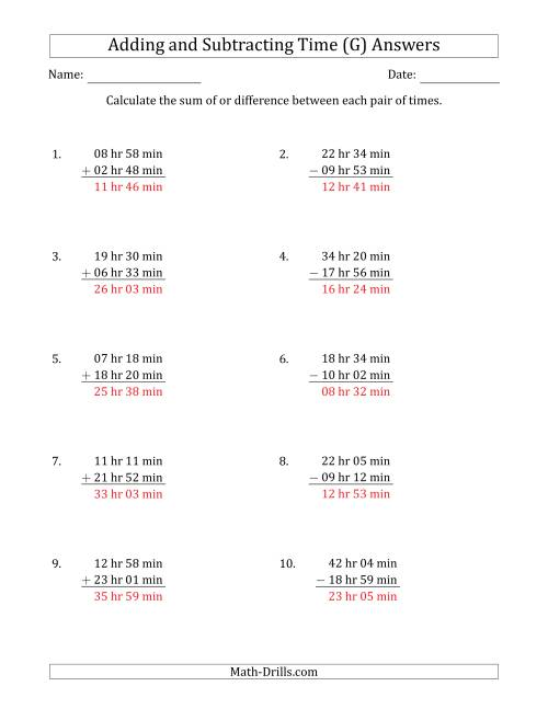 The Adding and Subtracting Hours and Minutes (Long Format) (G) Math Worksheet Page 2
