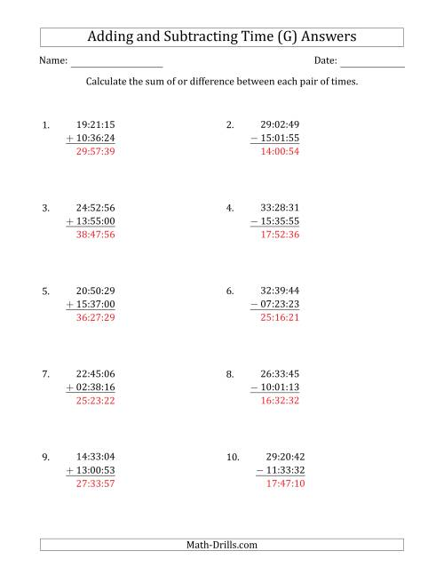 The Adding and Subtracting Hours, Minutes and Seconds (Compact Format) (G) Math Worksheet Page 2