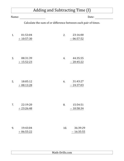 The Adding and Subtracting Hours, Minutes and Seconds (Compact Format) (I) Math Worksheet