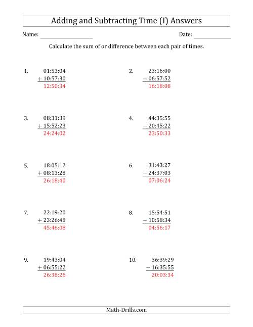 The Adding and Subtracting Hours, Minutes and Seconds (Compact Format) (I) Math Worksheet Page 2