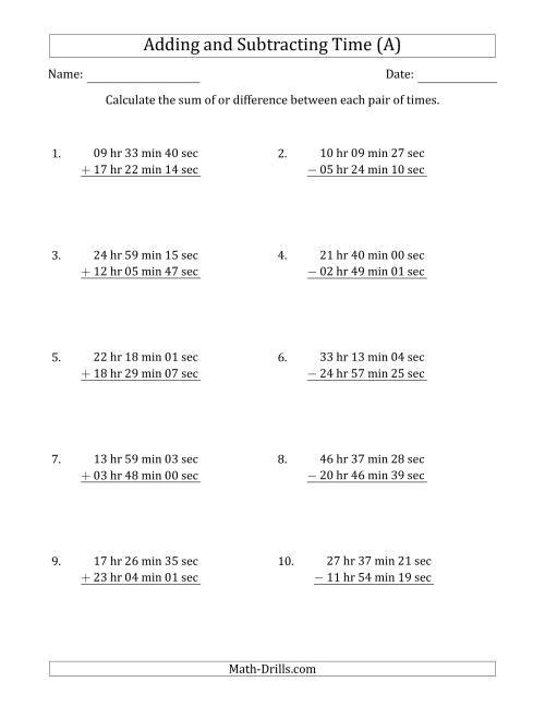 The Adding and Subtracting Hours, Minutes and Seconds (Long Format) (All) Math Worksheet