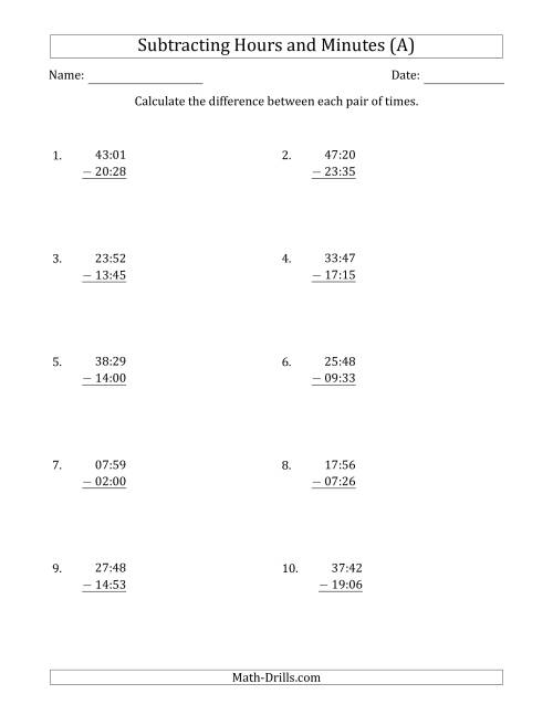The Subtracting Hours and Minutes (Compact Format) (A) Math Worksheet