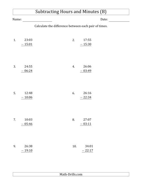 The Subtracting Hours and Minutes (Compact Format) (B) Math Worksheet