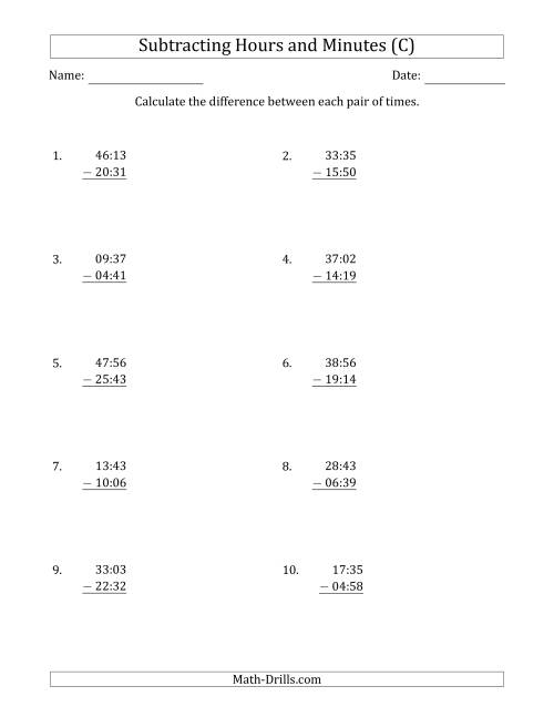 The Subtracting Hours and Minutes (Compact Format) (C) Math Worksheet
