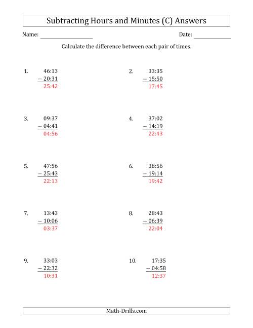 The Subtracting Hours and Minutes (Compact Format) (C) Math Worksheet Page 2