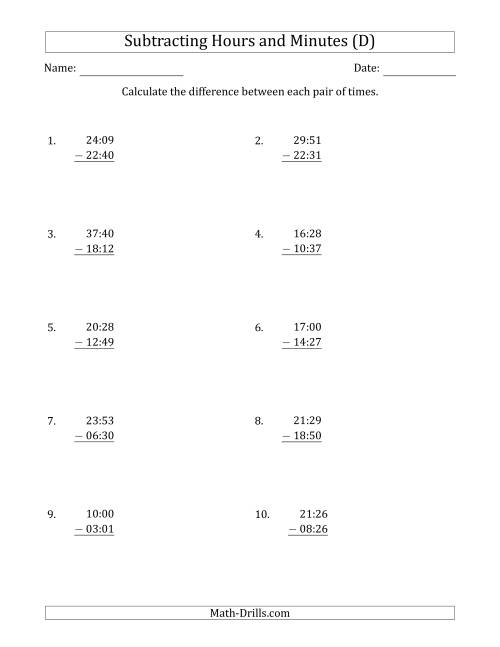 The Subtracting Hours and Minutes (Compact Format) (D) Math Worksheet