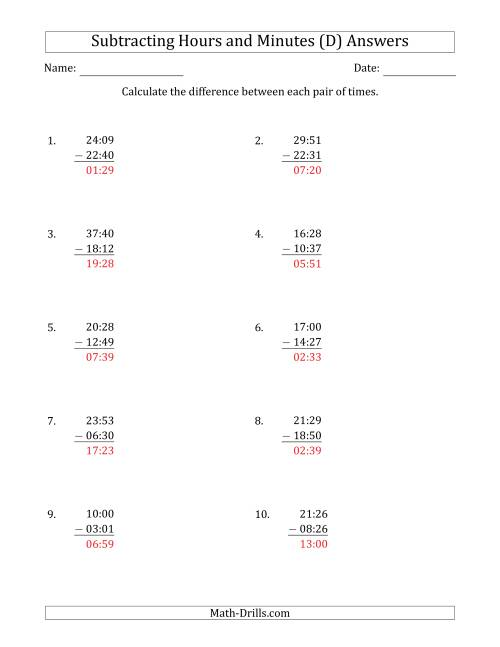 The Subtracting Hours and Minutes (Compact Format) (D) Math Worksheet Page 2