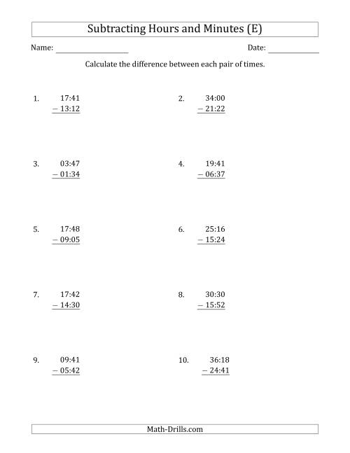The Subtracting Hours and Minutes (Compact Format) (E) Math Worksheet