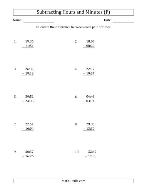 The Subtracting Hours and Minutes (Compact Format) (F) Math Worksheet