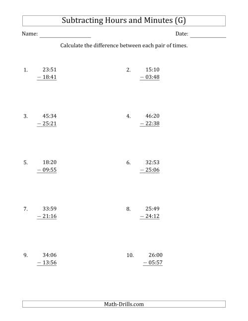 The Subtracting Hours and Minutes (Compact Format) (G) Math Worksheet