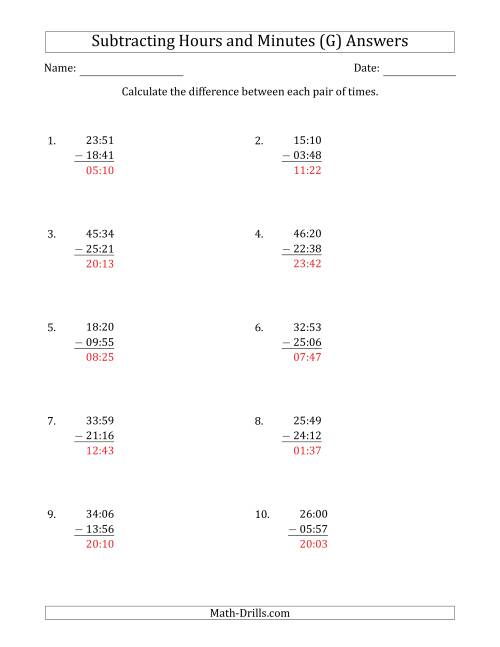 The Subtracting Hours and Minutes (Compact Format) (G) Math Worksheet Page 2