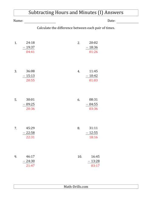 The Subtracting Hours and Minutes (Compact Format) (I) Math Worksheet Page 2