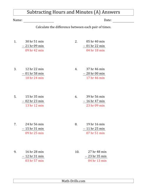 The Subtracting Hours and Minutes (Long Format) (A) Math Worksheet Page 2