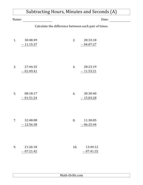 The Subtracting Hours, Minutes and Seconds (Compact Format) (A) Math Worksheet