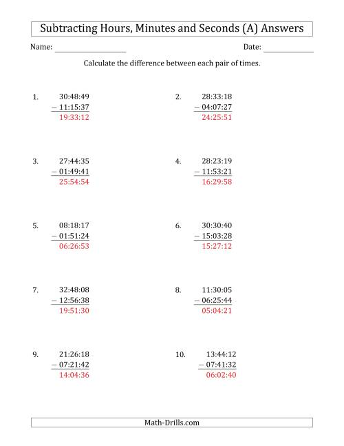 The Subtracting Hours, Minutes and Seconds (Compact Format) (A) Math Worksheet Page 2