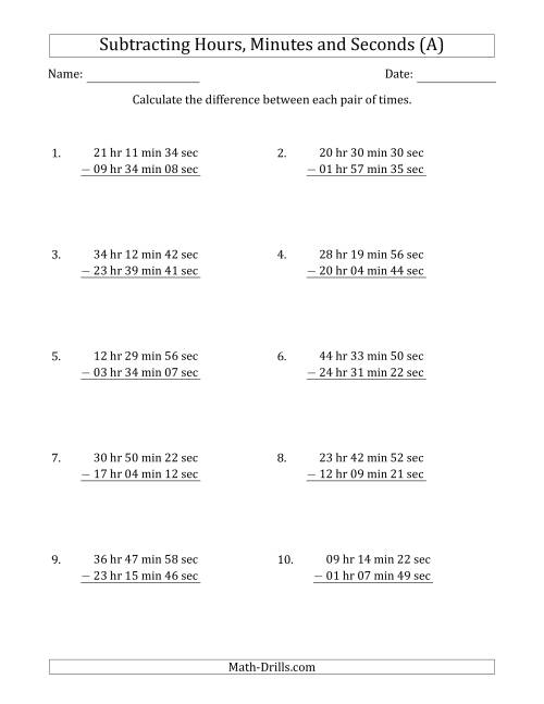 The Subtracting Hours, Minutes and Seconds (Long Format) (A) Math Worksheet