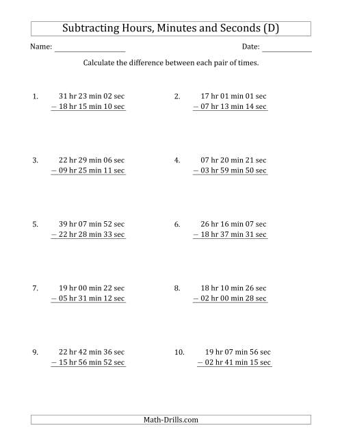 The Subtracting Hours, Minutes and Seconds (Long Format) (D) Math Worksheet